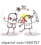 Royalty Free Vector Clip Art Illustration Of A Stick Couple Battling
