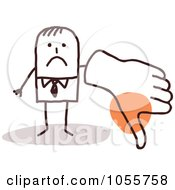 Royalty Free Vector Clip Art Illustration Of A Stick Man Giving A Thumbs Down With A Big Hand