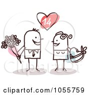 Royalty Free Vector Clip Art Illustration Of A Stick Couple Exchanging Valentines Day Gifts