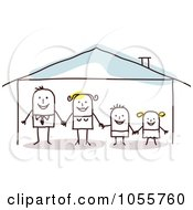 Royalty Free Vector Clip Art Illustration Of A Stick Man Family Holding Hands In A Home