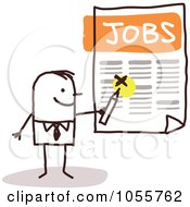 Royalty Free Vector Clip Art Illustration Of A Stick Man Highlighting A Job