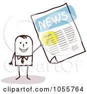 Royalty Free Vector Clip Art Illustration Of A Stick Man Holding The News