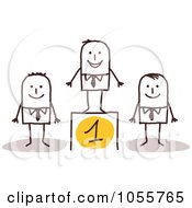 Royalty Free Vector Clip Art Illustration Of A Stick Man On A First Place Podium