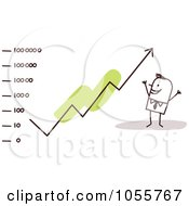 Royalty Free Vector Clip Art Illustration Of A Stick Man Watching An Arrow Rise by NL shop