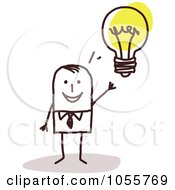 Royalty Free Vector Clip Art Illustration Of A Stick Man With An Idea by NL shop