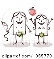 Royalty Free Vector Clip Art Illustration Of A Stick Adam And Eve With An Apple And Snake by NL shop