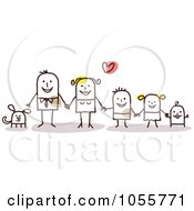 Royalty Free Vector Clip Art Illustration Of A Stick Man Family Holding Hands