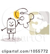 Royalty Free Vector Clip Art Illustration Of A Stick Man Holding A Dollar Symbol Puzzle Piece