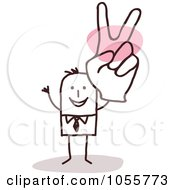 Royalty Free Vector Clip Art Illustration Of A Stick Man Gesturing Peace With A Big Hand