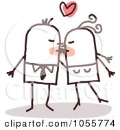 Royalty Free Vector Clip Art Illustration Of A Stick Couple Smooching