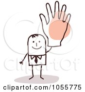 Royalty Free Vector Clip Art Illustration Of A Stick Man Waving With A Big Hand