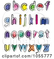 Royalty Free Vector Clip Art Illustration Of A Digital Collage Of Artistic Colorful Lowercase Letters