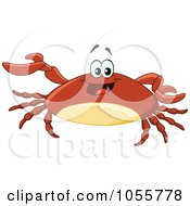 Royalty Free Vector Clip Art Illustration Of A Friendly Brown Crab Presenting