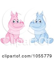 Royalty Free Vector Clip Art Illustration Of A Digital Collage Of Pink And Blue Baby Rhinos by yayayoyo