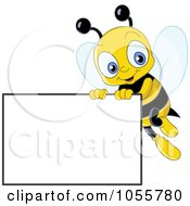 Royalty Free Vector Clip Art Illustration Of A Cute Bee Holding Up A Blank Sign