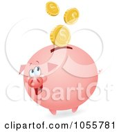 Royalty Free Vector Clip Art Illustration Of Coins Falling Into A Fat Piggy Bank