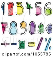 Royalty Free Vector Clip Art Illustration Of A Digital Collage Of Artistic Colorful Numbers And Math Symbols