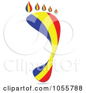 Royalty Free Vector Clip Art Illustration Of A Romanian Flag In The Shape Of A Footprint