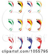 Royalty Free Vector Clip Art Illustration Of A Digital Collage Of National Flags In The Shape Of Footprints