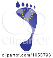Royalty Free Vector Clip Art Illustration Of A European Flag In The Shape Of A Footprint by Andrei Marincas