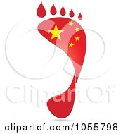 Royalty Free Vector Clip Art Illustration Of A China Flag In The Shape Of A Footprint by Andrei Marincas