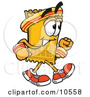 Clipart Picture Of A Yellow Admission Ticket Mascot Cartoon Character Speed Walking Or Jogging by Toons4Biz