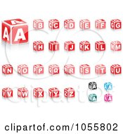 Royalty Free Vector Clip Art Illustration Of A Digital Collage Of Red Alphabet Blocks A Few Other Colors In The Corner by Andrei Marincas #COLLC1055802-0167