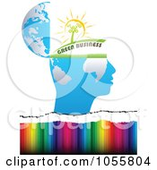 Royalty Free Vector Clip Art Illustration Of A Green Business Open Mind Over Colors by Andrei Marincas