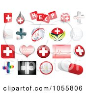 Royalty Free Vector Clip Art Illustration Of A Digital Collage Of Medical And Hospital Icons by Andrei Marincas