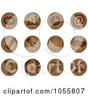 Royalty Free Vector Clip Art Illustration Of A Digital Collage Of Wooden Sphere Office Icons