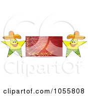 Royalty Free Vector Clip Art Illustration Of Two Mexican Stars Holding A Red Billboard Sign by Andrei Marincas