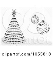 Royalty Free Vector Clip Art Illustration Of A Scribbled Christmas Tree And Ornaments by Andrei Marincas
