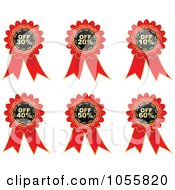 Royalty Free Vector Clip Art Illustration Of A Digital Collage Of Red Discount Ribbons