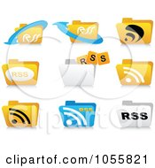 Royalty-Free Vector Clip Art Illustration of a Digital Collage Of RSS Folder Icons by Andrei Marincas