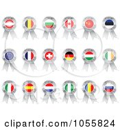 Royalty Free Vector Clip Art Illustration Of A Digital Collage Of Silver Flag Ribbon Medals