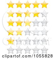Royalty Free Vector Clip Art Illustration Of A Digital Collage Of Gold And Silver Rating Stars by Andrei Marincas