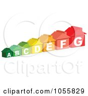 Royalty Free Vector Clip Art Illustration Of A Row Of Colorful Energy Rating Houses by Andrei Marincas