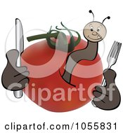 Royalty Free Vector Clip Art Illustration Of A Worm In A Tomato Holding Silverware