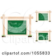 Royalty Free Vector Clip Art Illustration Of A Digital Collage Of Thank You Messages On Hanging Chalkboard Signs by Andrei Marincas