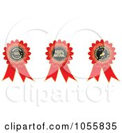 Royalty Free Vector Clip Art Illustration Of A Digital Collage Of Red Guarantee Ribbons by Andrei Marincas