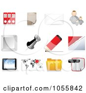 Royalty Free Vector Clip Art Illustration Of A Digital Collage Of Office Web Icons by Andrei Marincas