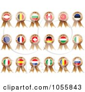 Royalty Free Vector Clip Art Illustration Of A Digital Collage Of Bronze Flag Ribbon Medals