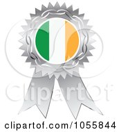 Royalty Free Vector Clip Art Illustration Of A Silver Ribbon Irish Flag Medal