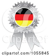 Royalty Free Vector Clip Art Illustration Of A Silver Ribbon German Flag Medal by Andrei Marincas