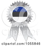 Royalty Free Vector Clip Art Illustration Of A Silver Ribbon Estonia Flag Medal by Andrei Marincas