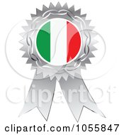 Royalty Free Vector Clip Art Illustration Of A Silver Ribbon Italy Flag Medal