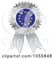 Royalty Free Vector Clip Art Illustration Of A Silver Ribbon European Flag Medal by Andrei Marincas