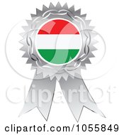 Royalty Free Vector Clip Art Illustration Of A Silver Ribbon Hungary Flag Medal by Andrei Marincas