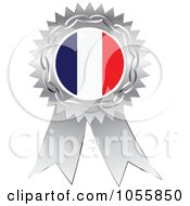 Royalty Free Vector Clip Art Illustration Of A Silver Ribbon France Flag Medal by Andrei Marincas