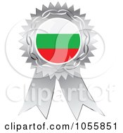 Royalty Free Vector Clip Art Illustration Of A Silver Ribbon Bulgaria Flag Medal by Andrei Marincas